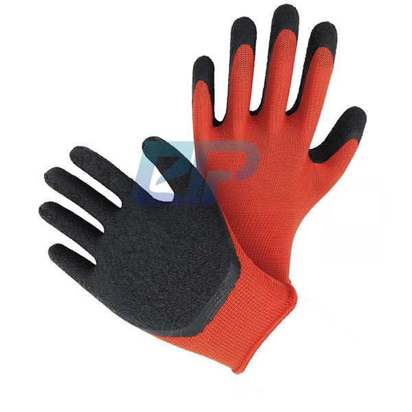 China Premium Factory 13G Polyester Liner Crinkle Latex Dipped Hand Gloves