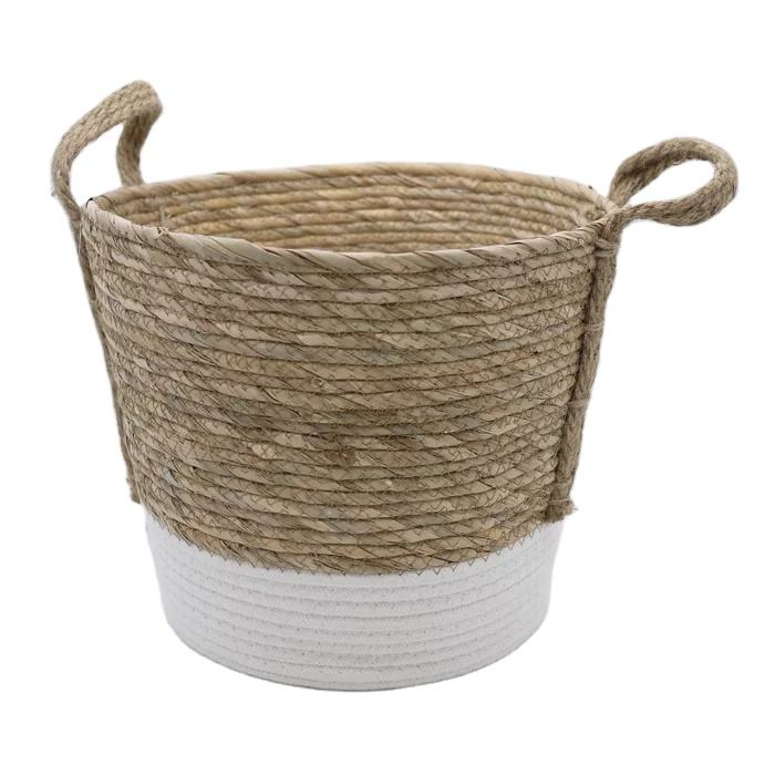 Basket Seagrass Design For Blankets Toys With Handle Storage Bins. Natural Colour With White Tone