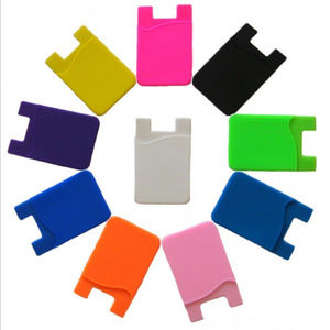 customized silicone mobile phone card holder adhesive credit card holder