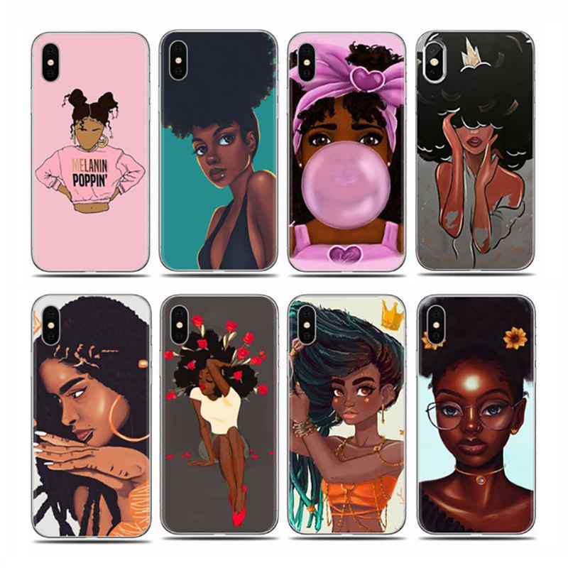 Custom Design Fashionable Black Girl Back Cover Case Accessories for Iphone