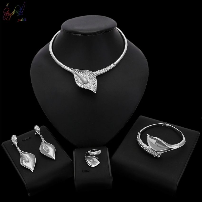 Silver Color Lovely Fashion Jewelry Set Platinum Plated Calla lily Design Necklace Bangle Earrings Ring Set Daily Party Wearing