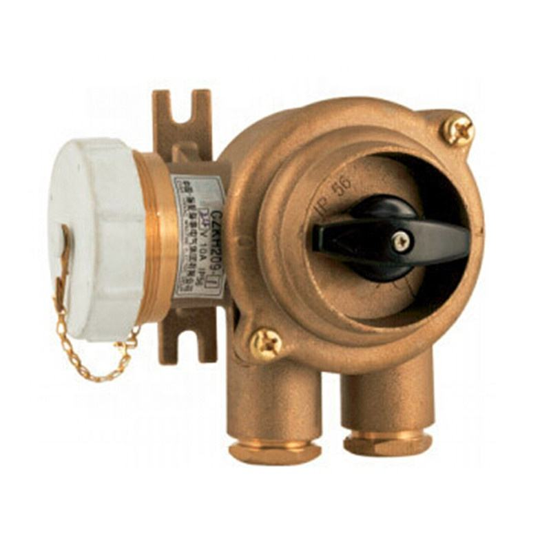 IMPA code 792887 Marine Brass Receptacle Socket With Switch 3 Pin Sockets