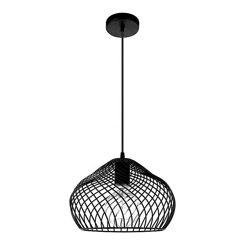 Cheap Pendant Cage Light Fixtures New Black Luminaire Fittings Modern Living Room Iron Metal Led Lamps