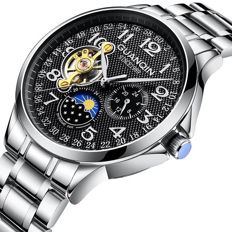 2019 Business Men Automatic Mechanical Fashion Moon Phase Casual Wrist Watches