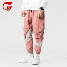 2019 High Street Fashion Pink Color Big Pocket Mens  Cargo Pants
