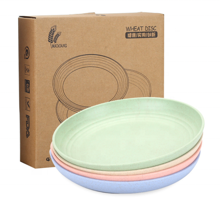 Microwave safe 4Pcs 9 inch reusable wheat plastic plates dish plates for picnic