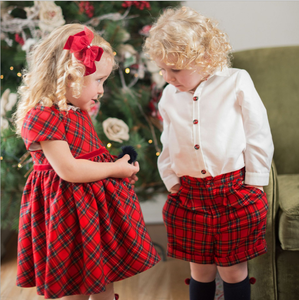Children's short-sleeved dress Christmas New Year children's dress girls red British plaid skirt dress