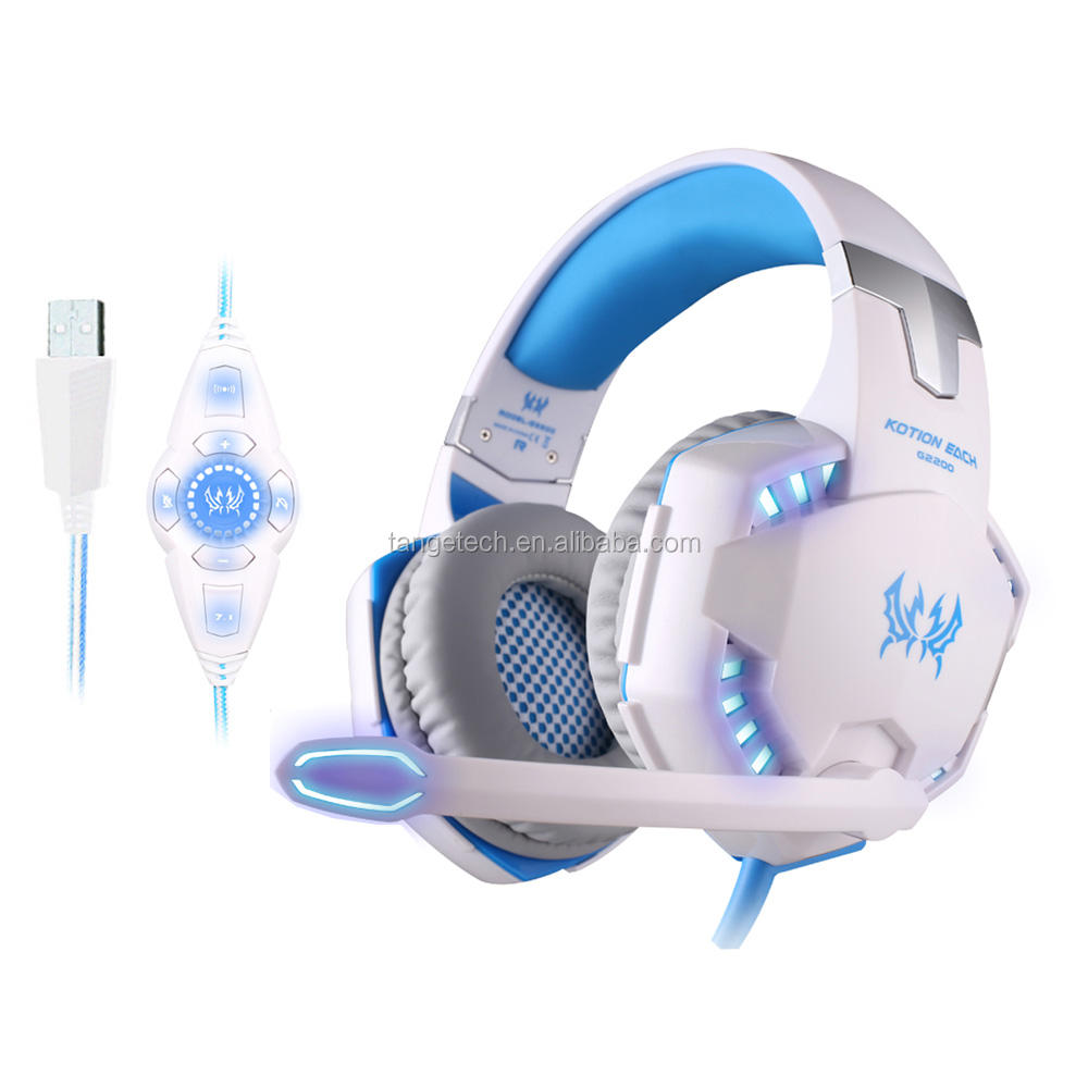 kotion each g2200 Built in vibrator system 7.1 glaring led light motor bike accessories gaming headset with calls handfree