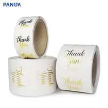 "cheap custom printing vinyl adhesive logo transparent waterproof clear round label sticker foil gold thank you"" stickers roll"