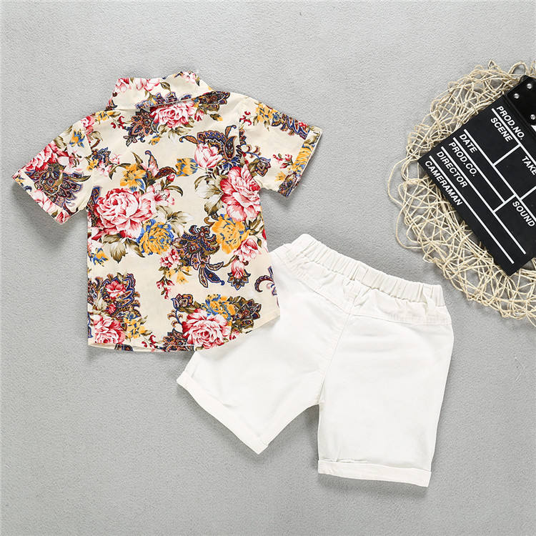 2019 summer kid boys clothes Flower Shirts+ Denim shorts 2PCS baby boys Gentleman Suit kid clothes set