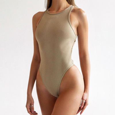 Summer ladies sexy plain solid bodysuit adults female cross backless sleeveless halter bodysuit