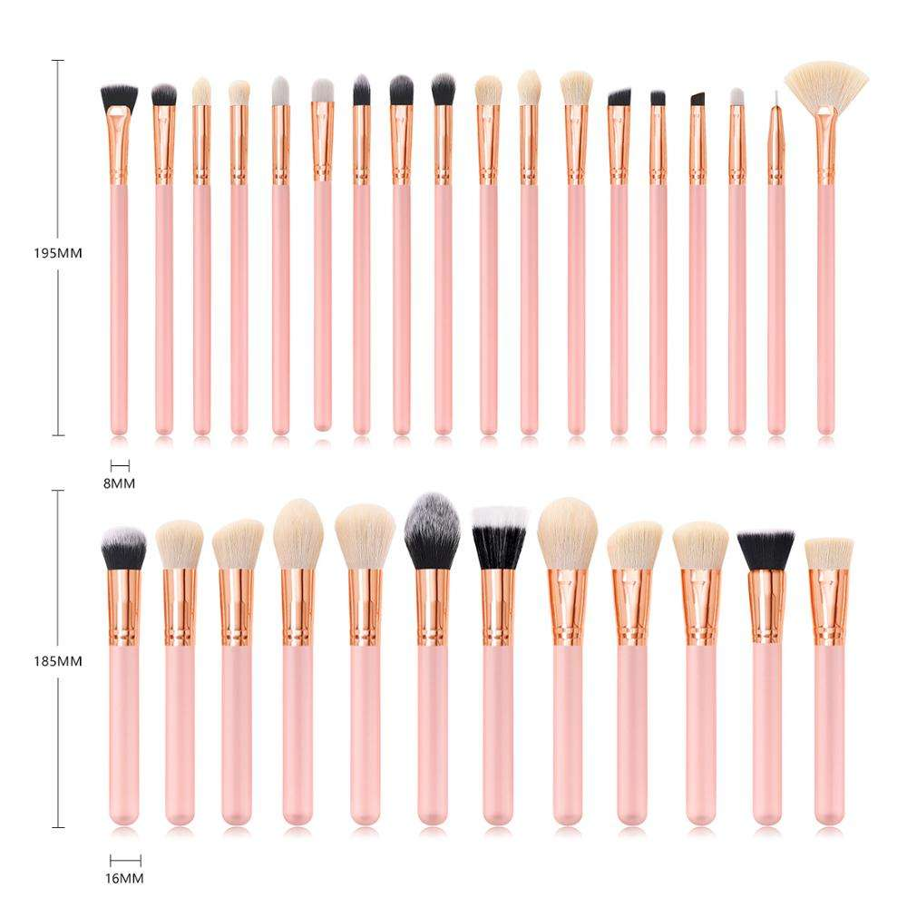 2019 New arrival pink High quality Wood Handle Pink Makeup Brushes Fan Brush best make up brush