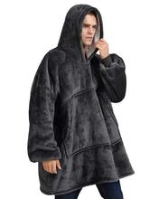 High quality double layer flannel sherpa winter hooded wearable oversized hoodie blanket sweatshirt