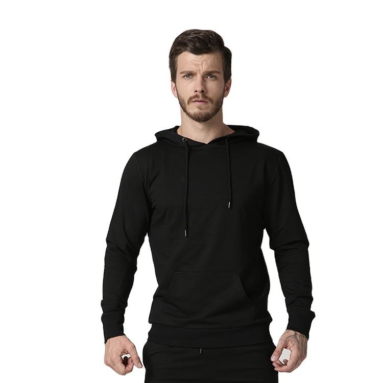 men slim fit workout black pullover hoodie