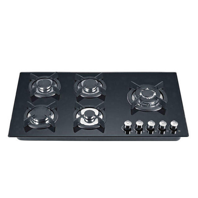 Stainless steel panel tempered glass 5 Burners built in gas cooker
