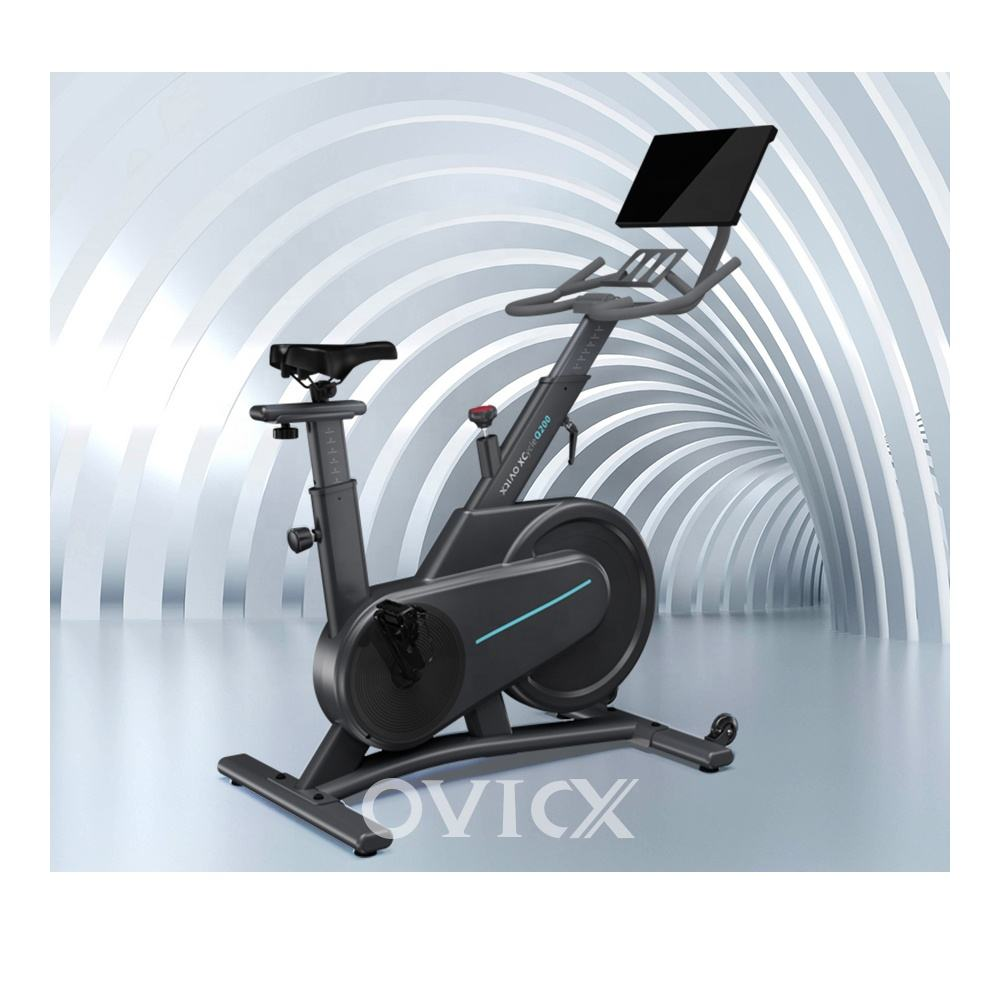 Smart foldable spinning bike exercise fitness with screen commercial gym custom logo