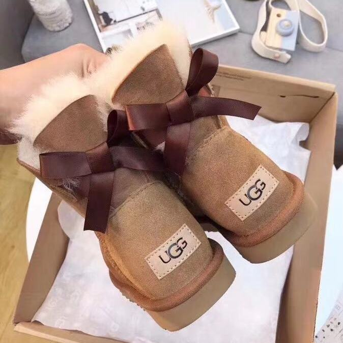 Women Classic Winter Warm Lining 100% Imported Australia Sheepskin Fur Fashion Snow Boots Mini Bailey Bow Boots