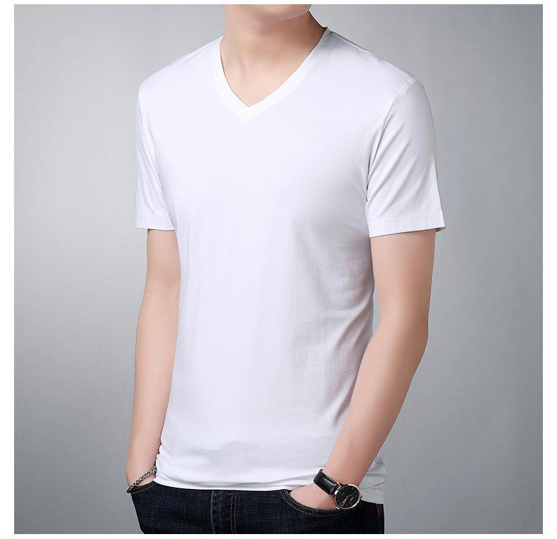 Free sample 60% cotton 40% polyester t-shirts wholesale v-neck t-shirt