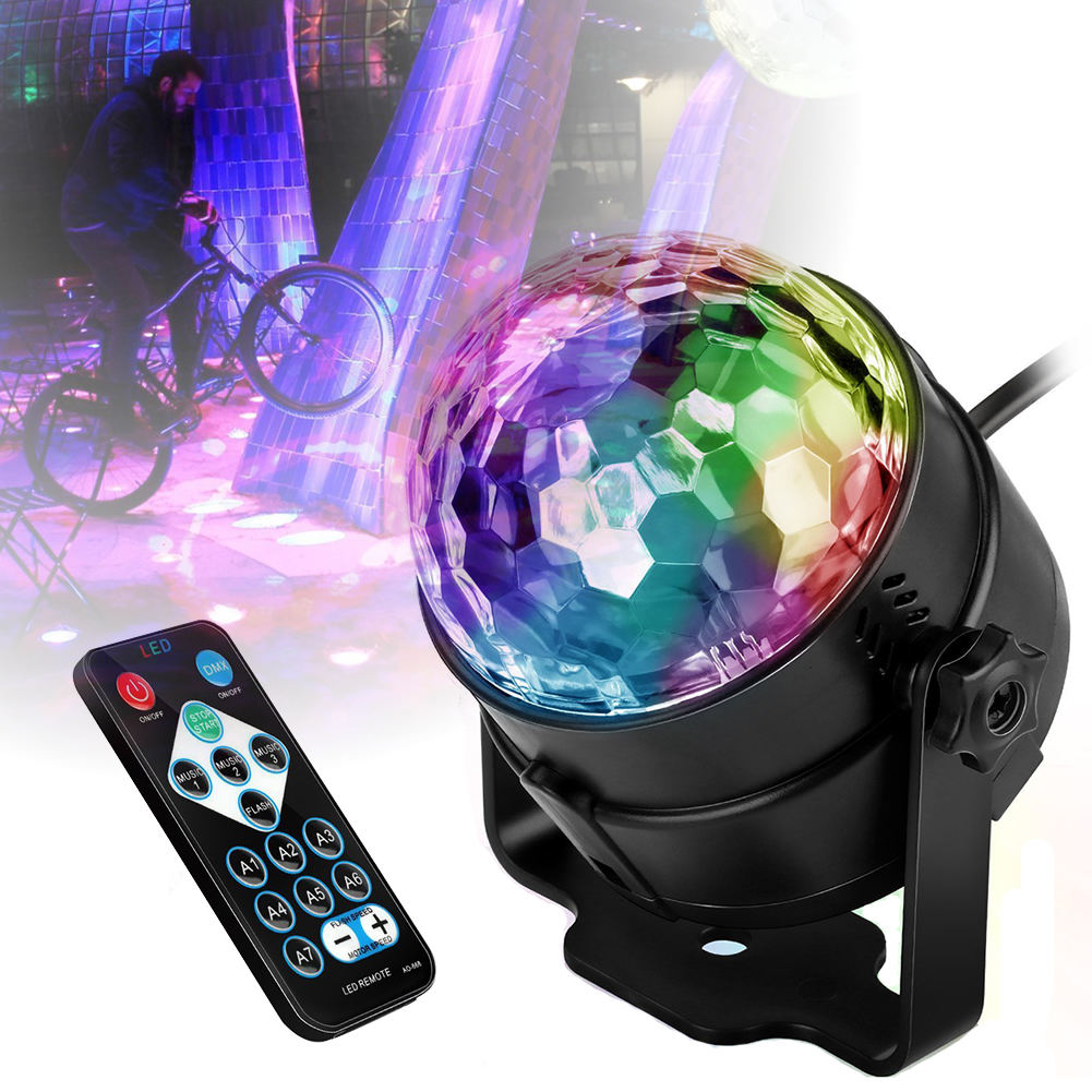 3W Rgb Led Home Party Kerst Xmas Timing Stadium Effect Verlichting Sound Activated Roterende Bean Dj Disco Ball Party strobe Lights