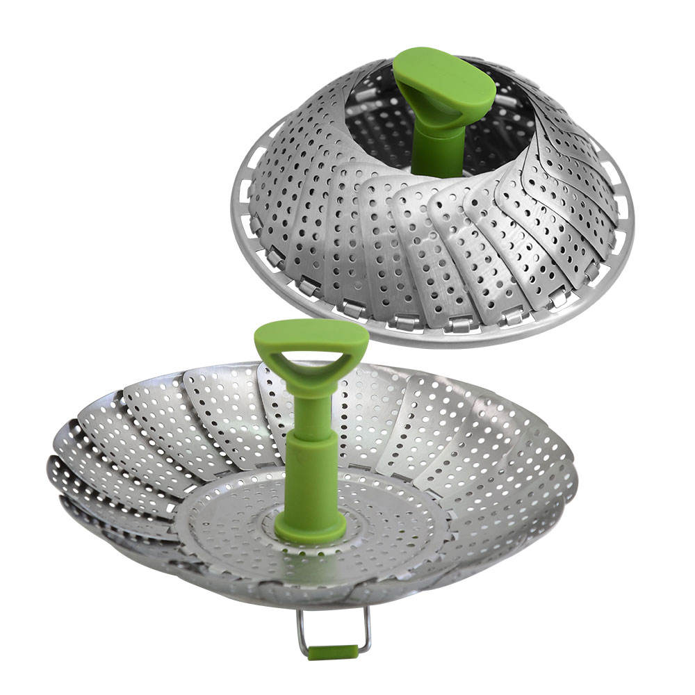 2019 Pork Bao Bun Dim Sum Vegetable Steamers Retractable Folding Household Kitchen Utensil Stainless Steel Food Steamer Basket