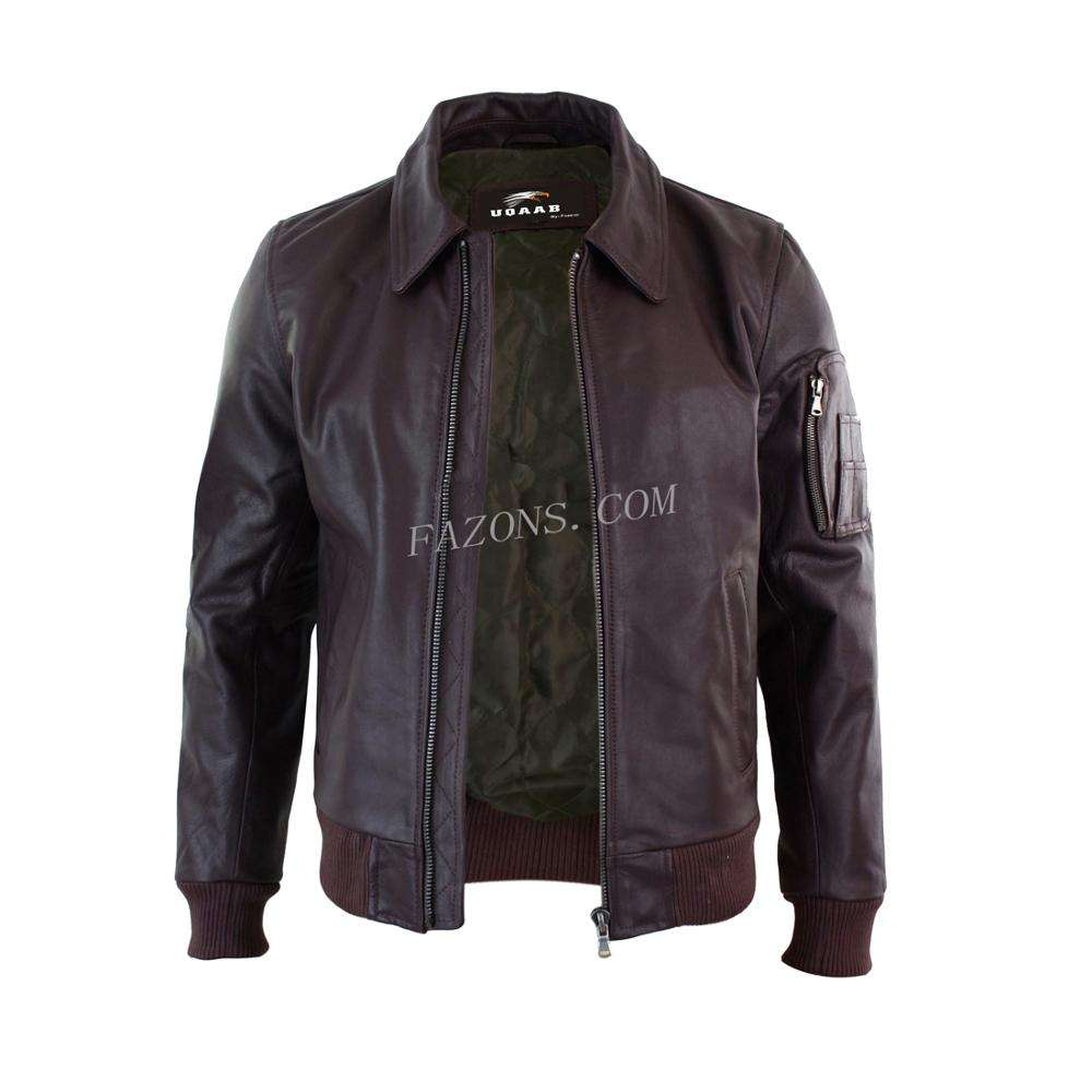 Men Bomber MA1 Classic Pilot MOD Genuine Real Leather Biker Style Casual Fashion Flight Military Leather Jacket OEM Wholesale