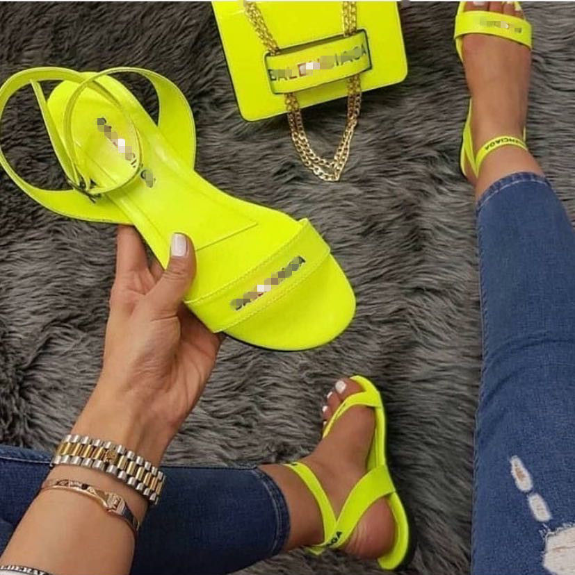 Neon Green Female Shoes Fashion Design Ladies Flat Shoes Sandalias Flat Slides Open Toe Women Sandals