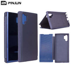 Grid TPU Back Cover Clear View Smart Plating PU Wallet Stand Flip Case Voor Samsung Galaxy Note 10 10Pro & retail Pakket