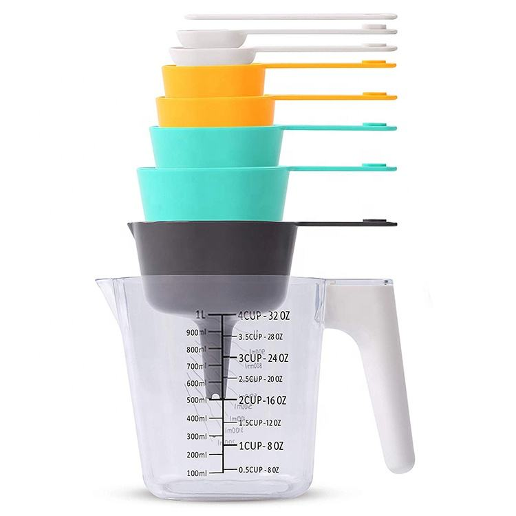 Hot sale China factory food grade 9-pieces 1000ml Stackable plastic nested measuring cup with handle