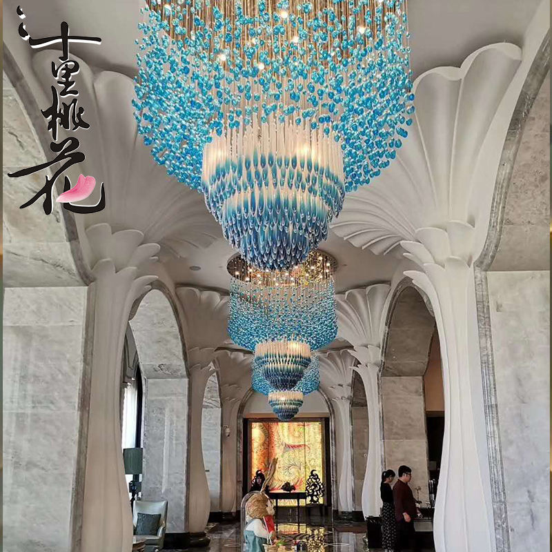 Hotel Hall Lighting Decoration Customized High Quality Large Crystal Pendant Light water droplets Glass Chandelier