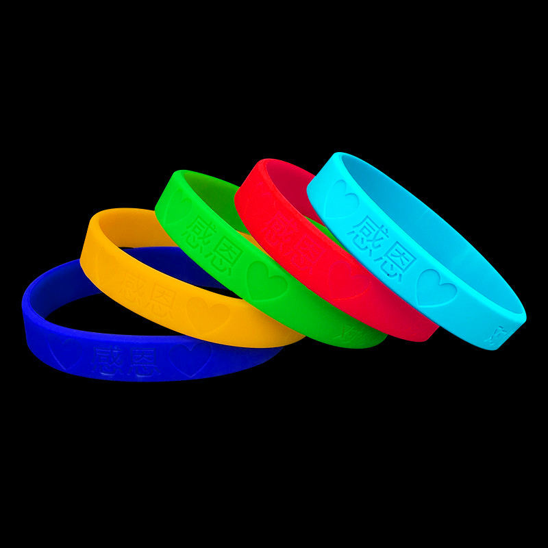 Manufacturer Custom Debossed Silicone Wristband Blank Rubber Bracelet