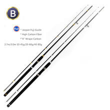Factory supplier 2.4m/2.7m/3.0m Heavy action saltwater 2 section carbon fiber Fuji guides sea bass fishing rod casting rod