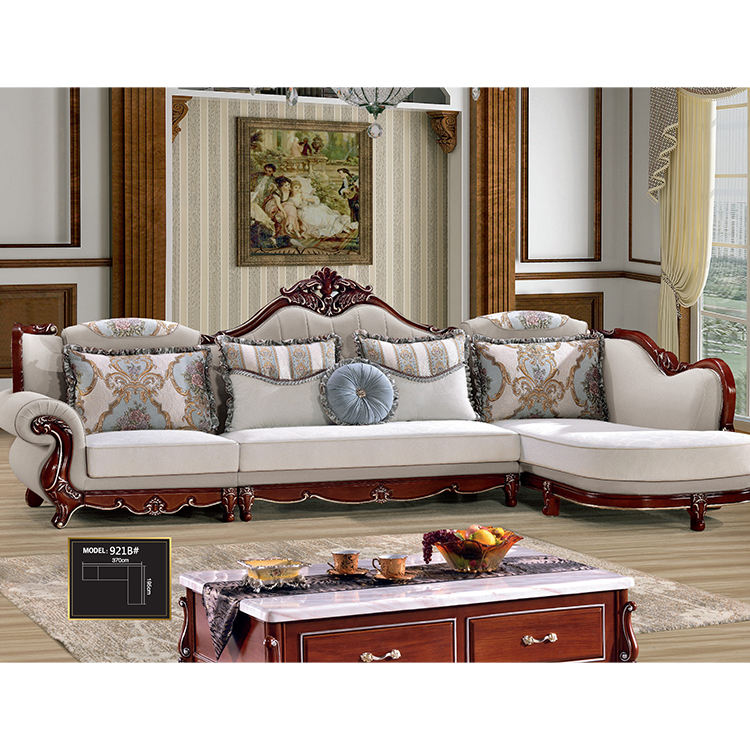 Luxury Carved European French Baroque royal gold carved antique living room 7 seater designs antique l shaped lounge sofa sets