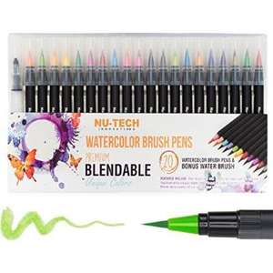 20 pcs plastic material brush pen marker sets for school  high quality gift item stationery