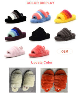 Custom logo high quality winter indoor real sheepskin moccasin slippers sandals women baby kids fur slides