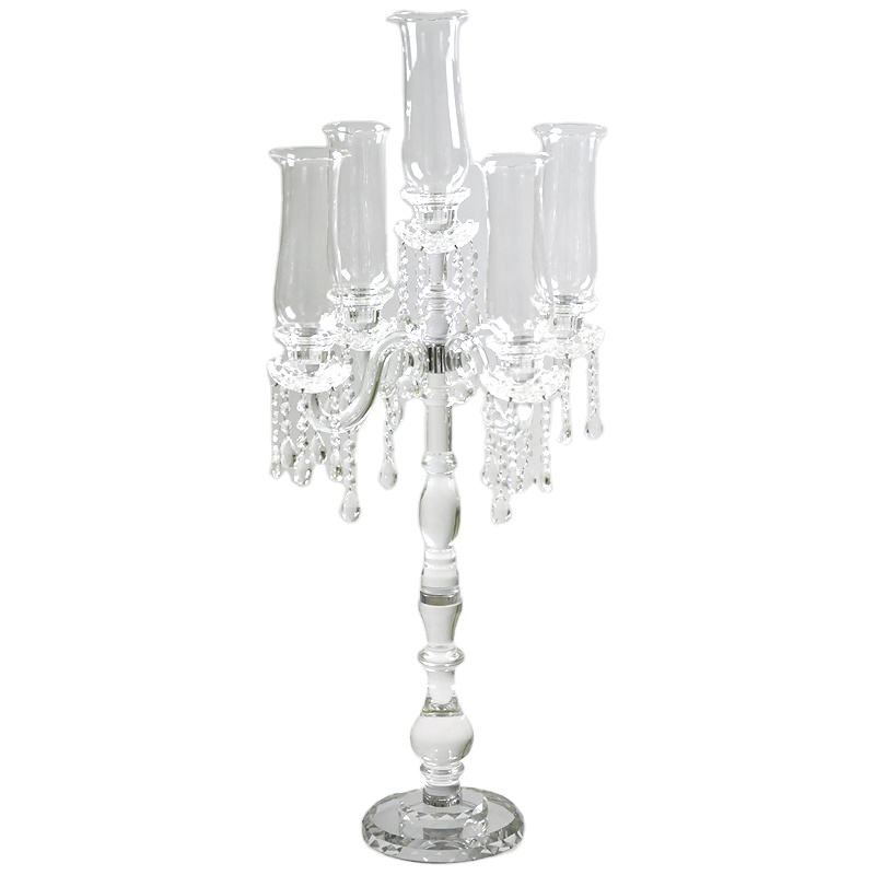Cheap 100cm clear tall 5 arm crystal candelabra with hurricane wedding table decoration centerpieces glass candle holders decor