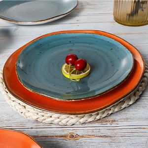 European Modern Rustic Ceramics Dishes  Custom Logo Fine Porcelain Dinner Plates Sets  Dining Ceramic Plates for Restaurants^