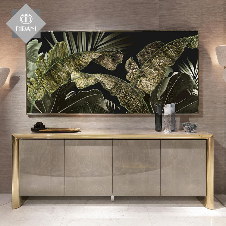wood panel stainless steel frame modern luxury sideboards buffet HAMILTON cabinets dining room furniture for restaurant