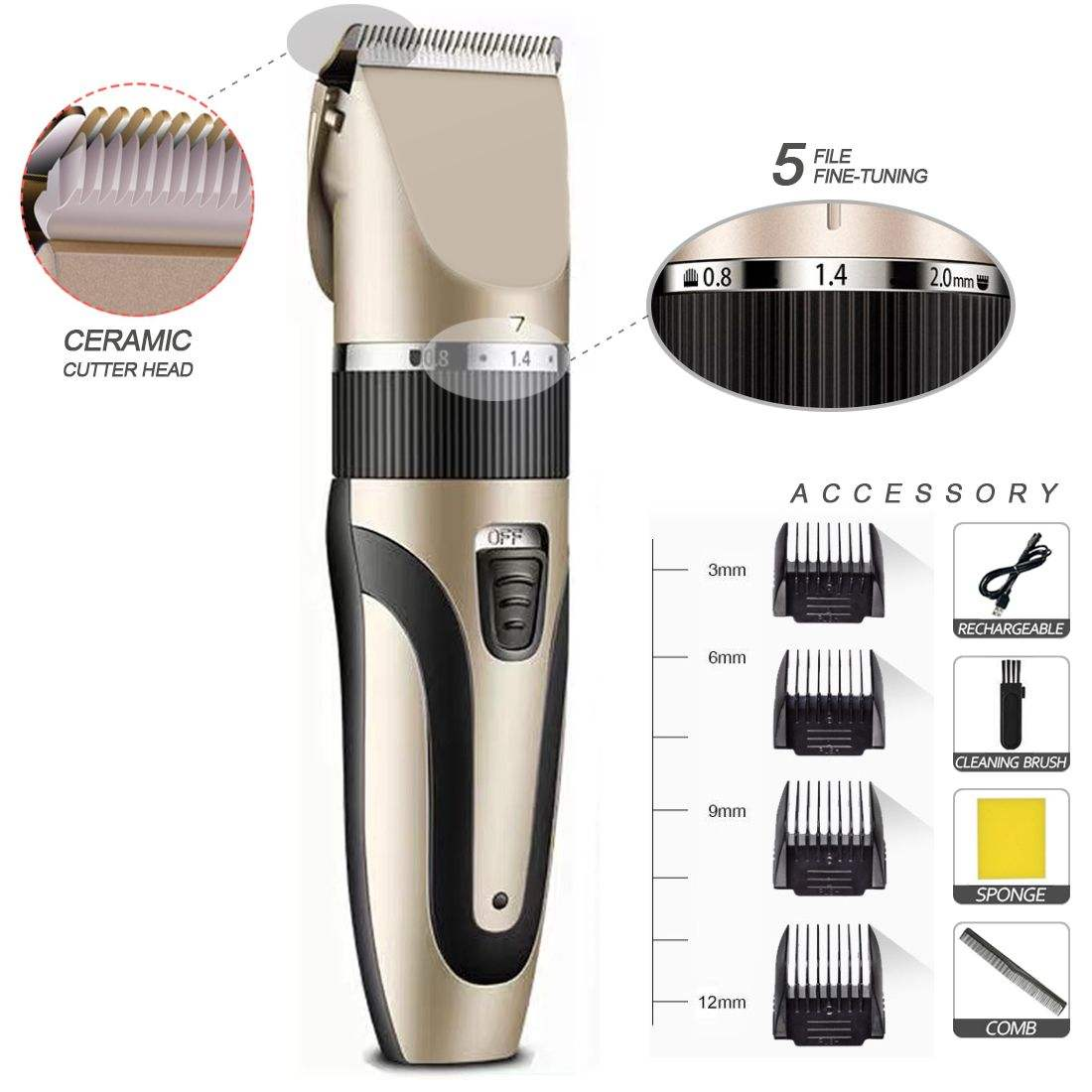 Rechargeable 5V 1500mAh Electric And Beard Trimmers Hair Trimmer Blades