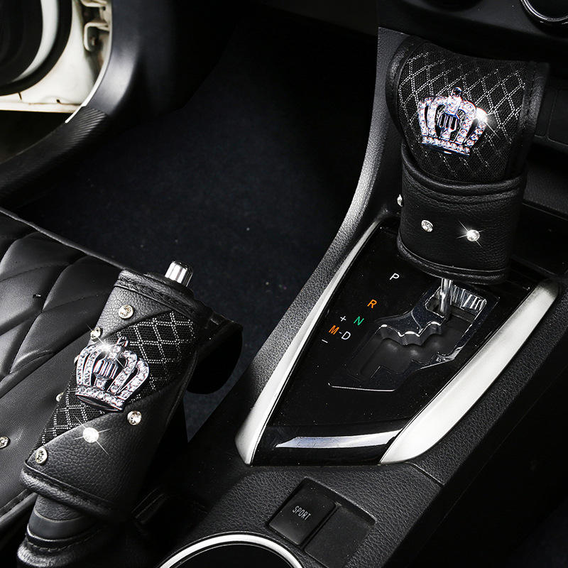 Summer Mesh Car Gear Shift Knob Cover Crown PU Leather Bling Handbrake Seatbelt Covers Set with Crystal Crown Accessories