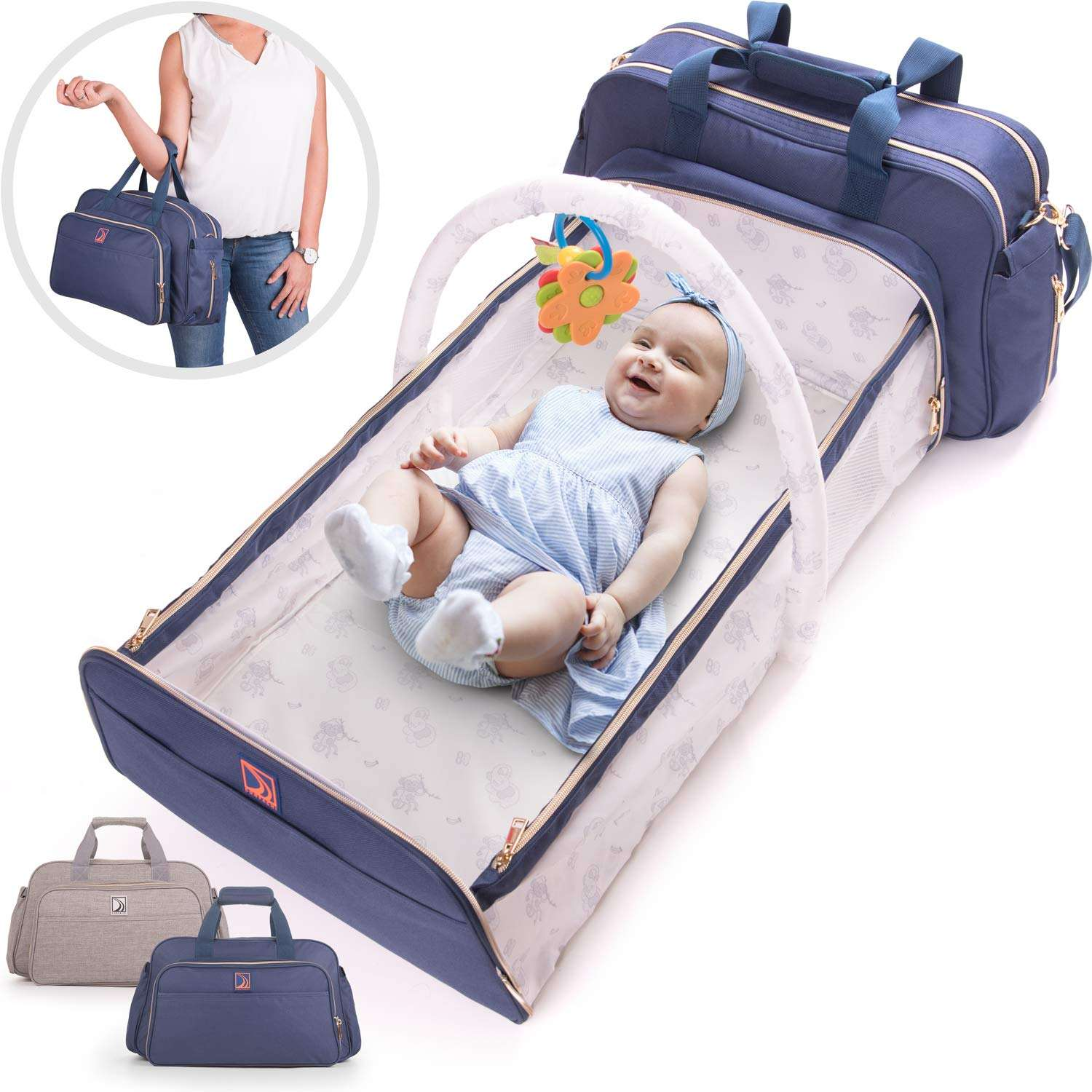 Custom Private Label 4 in 1 Includes Crib Bassinet Nappy Convertible Nappy Changing Pad Baby Diaper Backpack Bag and Bed