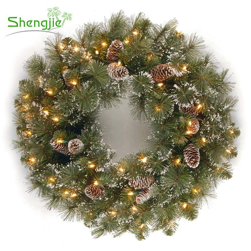Hanging Pre Lit Window Decorative Plastic Pine Needle Artificial Christmas Door Wreath with LED Light