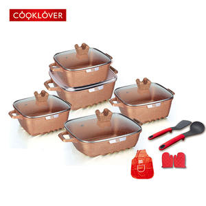 15pcs die casting non-stick square ceramic coating cookware set
