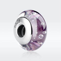 925 Sterling Silver Lovely Pink Flower European Murano Glass