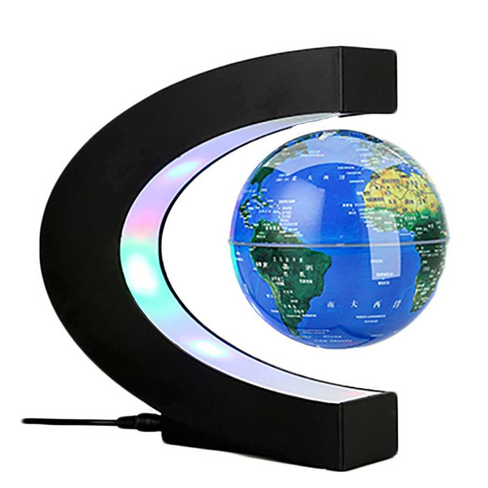Custom Printed C Shape Floating Globe, Geography World Map Magnetic Levitation Globe