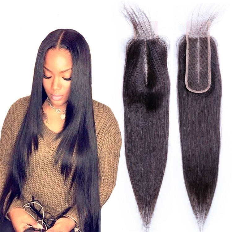 Human Hair Closure 2*6 lace Straight Remy Brazilian Natural Color Middle Part for woman