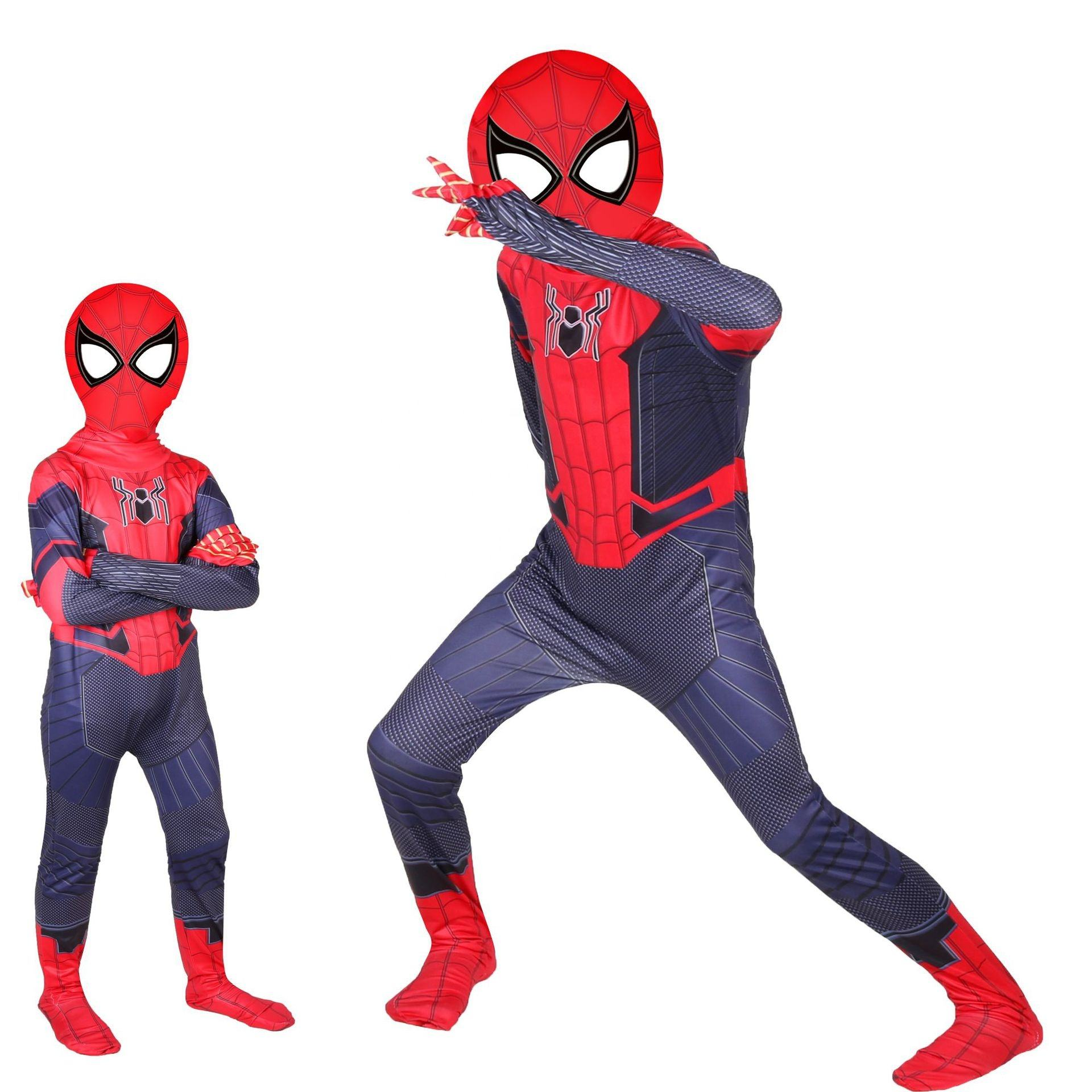 Spiderman Child Costume Xmas Halloween Party hat+shirt+trouser 3pieces Polyester
