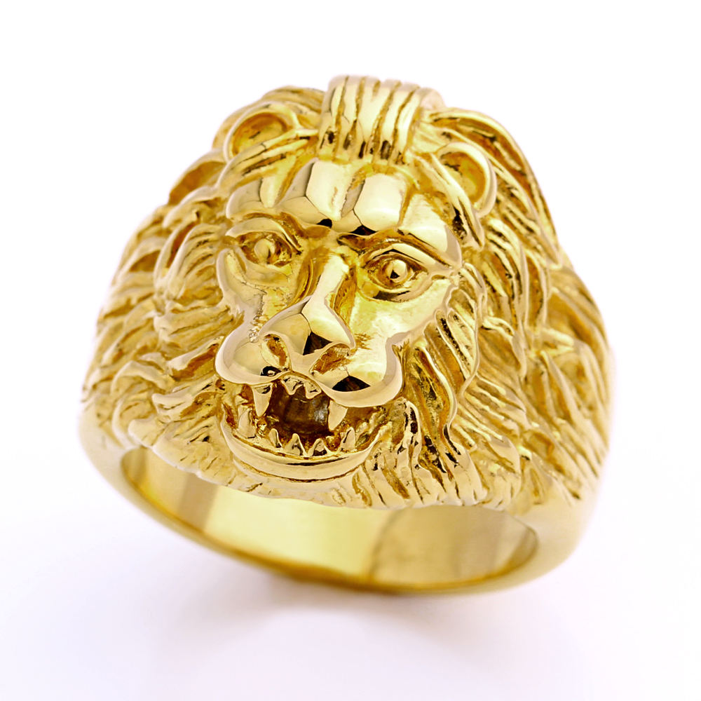 Stock Ready Quality Stainless Steel Gold Lion Head Ring for Mens Jewelry