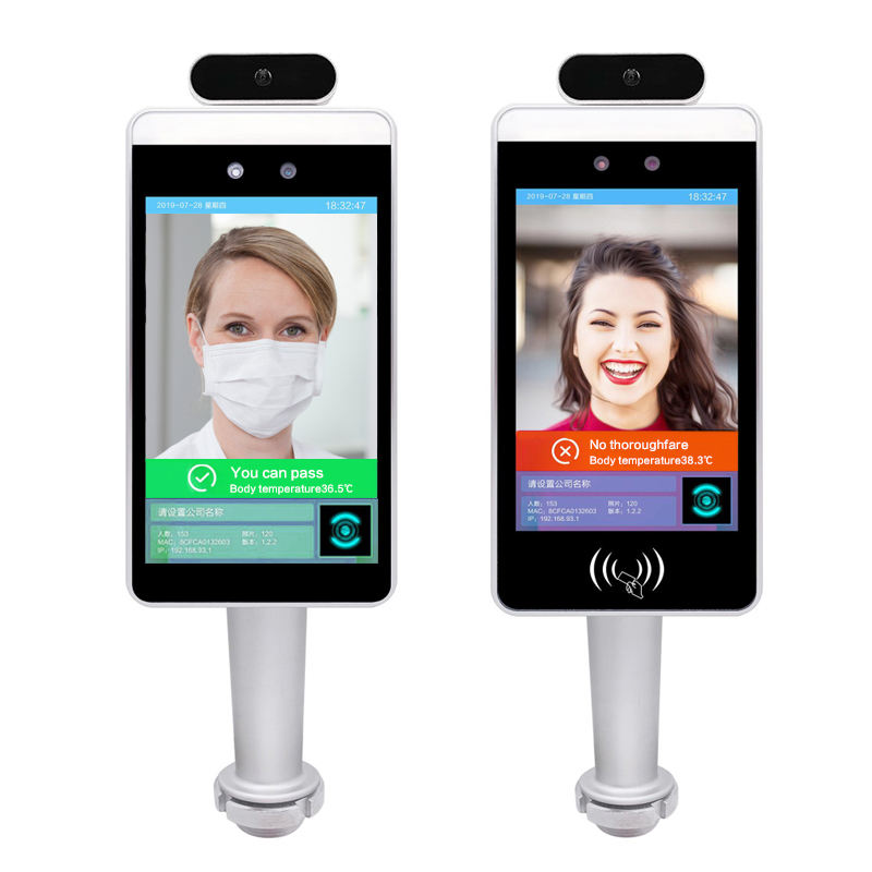 Face identification time attendance temperature scanner no touch thermometer access control