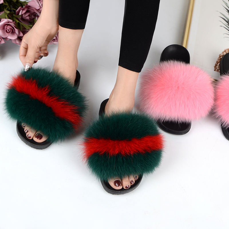 fur slippers ladies jelly bags and Fur Soft Sandals natural color Slippers women faux fur slides