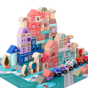 115 pcs educational wooden city transportation building blocks wooden stacking blocks set toys for kids